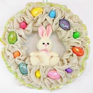 Easter Bunny Burlap Ruffle Welcome Wreath